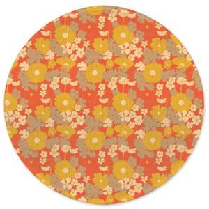 60s Orange Floral Round Bath Mat