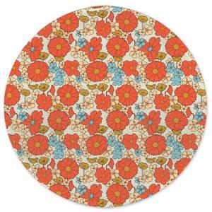 60s Flowers Round Bath Mat