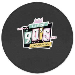I Love The 90's Graphic Round Bath Mat