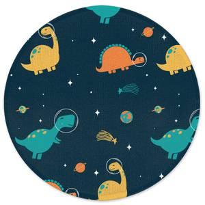 Space Dino Pattern Round Bath Mat