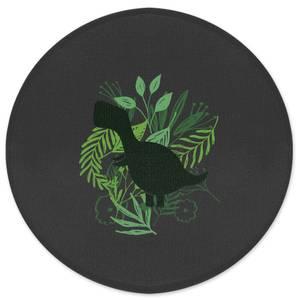 T-Rex Silhouette Foliage Round Bath Mat