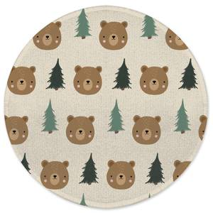 Bear And Forest Pattern Round Bath Mat