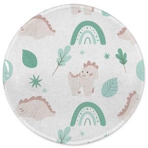 Dusty Pink Dino Round Bath Mat