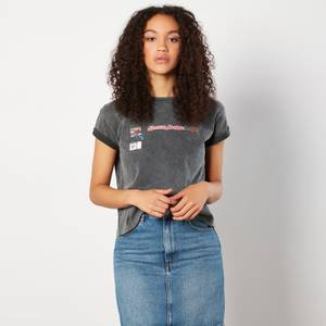 Venom Maximum Carnage Prints Women's Cropped T-Shirt - Black Acid Wash