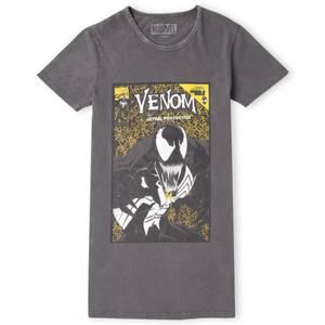 Venom Comic Women's T-Shirt Dress - Black Acid Wash