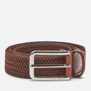 BOSS Men's Woven Elastic Belt - Dark Brown