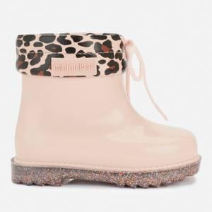 Mini Melissa Toddler's Mini Rain Boots Print - Blush Glitter