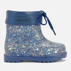 Mini Melissa Toddler's Mini Rain Boots Print - Navy Fleck