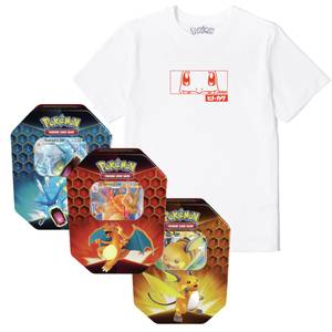 Bundle Pokémon: T-Shirt Charmander & Tin Pokémon TCG: Destino Sfuggente