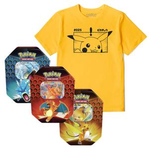 Pokémon Pikachu T-Shirt & Pokémon TCG: Hidden Fates Tin Bundle