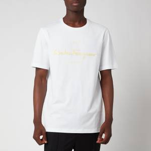 Salvatore Ferragamo Men's 1927 Signature T-Shirt - White/Yellow