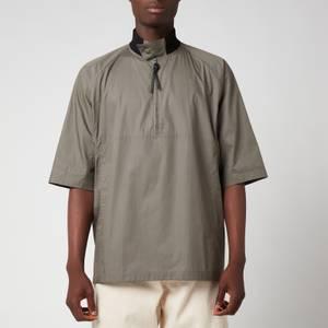 Salvatore Ferragamo Men's Short Sleeve Zip Shirt - Grey/Brown