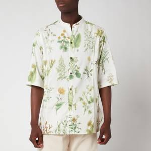 Salvatore Ferragamo Men's Short Sleeve Print Shirt - Green