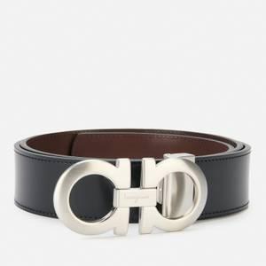 Salvatore Ferragamo Men's Reversible And Adjustable Gancini Belt - Black/Dark Brown