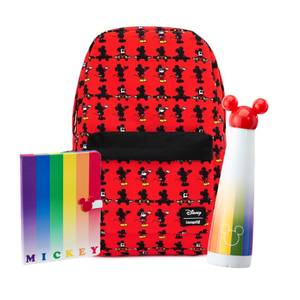 Mickey Mouse Nylon Loungefly Backpack and Rainbow Waterbottle and Notebook Bundle