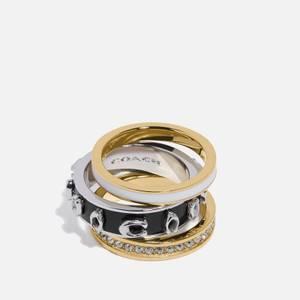 Coach Women's Pegged Enamel C Ring Set - Gold/Black
