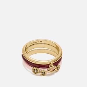 Coach Women's Pink Enamel Tea Rose Ring Set - Gold/Pink