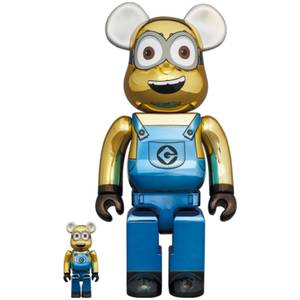 Medicom Minions Dave 100% X 400% Be@rbrick 2 Pack (Chrome Version)