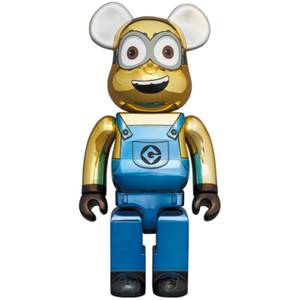 Medicom Minions Dave 1000% Be@rbrick (Chrome Version)
