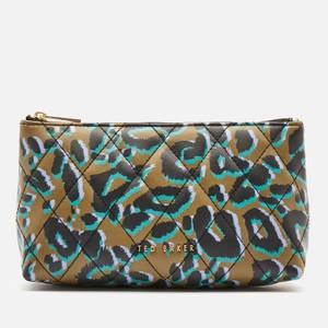Ted Baker Women's Quiltaz Quilted Leopard Detail Triangle Washbag - Olive