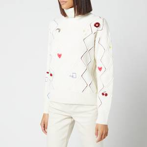 PS Paul Smith Women's Knitted Pullover Roll Neck Jumper - White