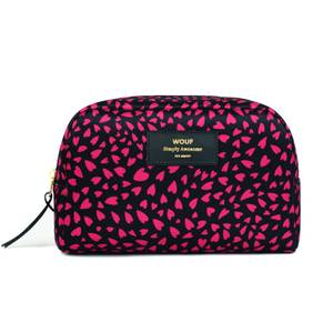 Wouf Beauty Bag - Large - Black Hearts