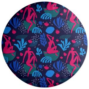 Silhouete And Leaves Round Cushion