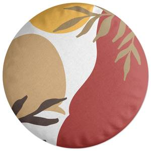 Hot Tone Abstract Leaves Round Cushion