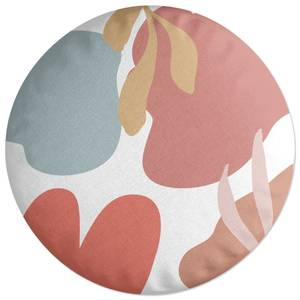 Abstract Clouds And Leaves Round Cushion