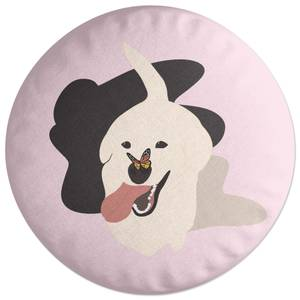 Dog With Butterfly Nose Round Cushion