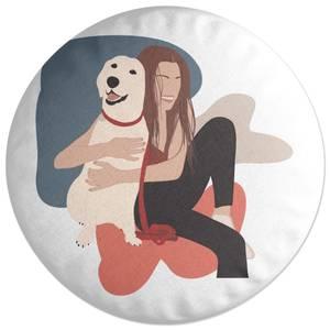 Dog Cuddles Round Cushion