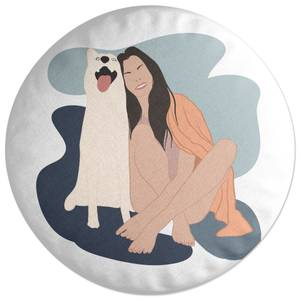 Smiles With The Pup Round Cushion