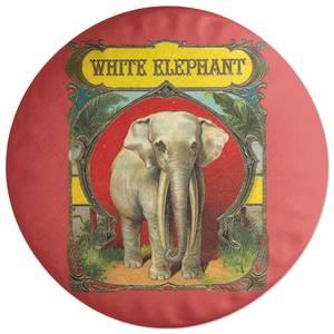 White Elephant Round Cushion
