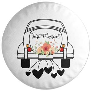 Just Married Car Round Cushion