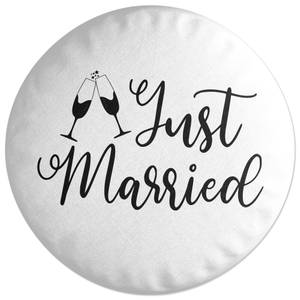 Just Married Signature Round Cushion
