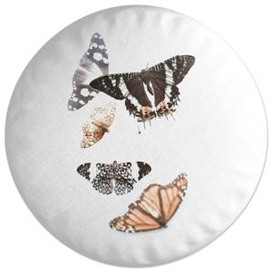 Isolated Butterflies Round Cushion