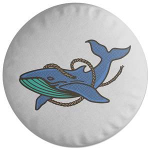 Sea Blue Whale Round Cushion