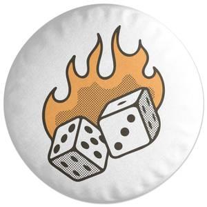 Flaming Dice Round Cushion