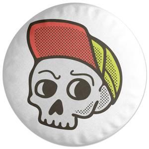 Baseball Cap Skull Round Cushion