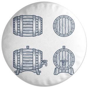 Beer Barrels Round Cushion