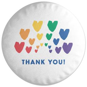Thank You Rainbow Hearts Round Cushion