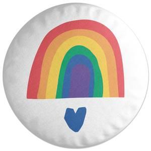 Rainbow And Heart Round Cushion