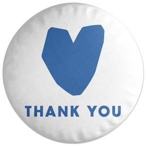 Blue Heart Thank You Round Cushion