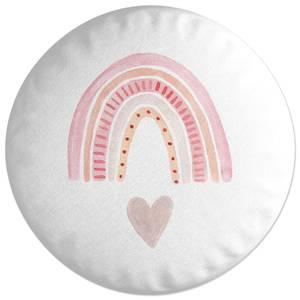 Pink Heart And Rainbow Round Cushion