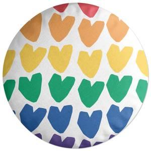 Rainbow Hearts Round Cushion