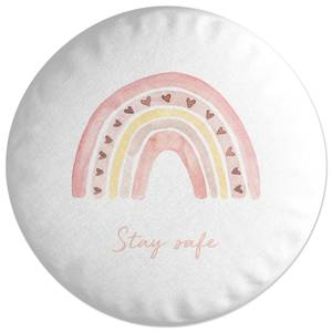 Stay Safe Pink Heart Round Cushion