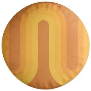 Yellow Groove Round Cushion