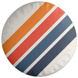 Blue Orange Retro Stripes Round Cushion