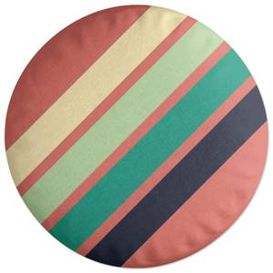 Green Retro Stripe Round Cushion