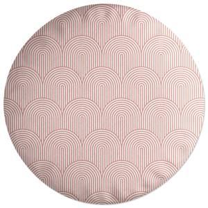 Trippy Rainbow Pink Round Cushion
